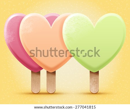 Vector pastel colored ice cream illustration, three realistic heart shaped ice-creams on a stick. Love icecream poster - stock vector