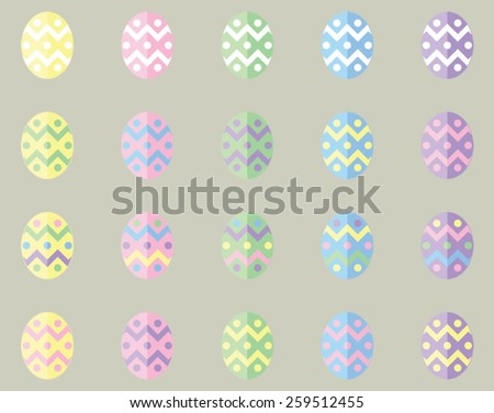 Vector Pastel Easter Eggs In Flat UI Design Style in a range of color variations and combinations - stock vector