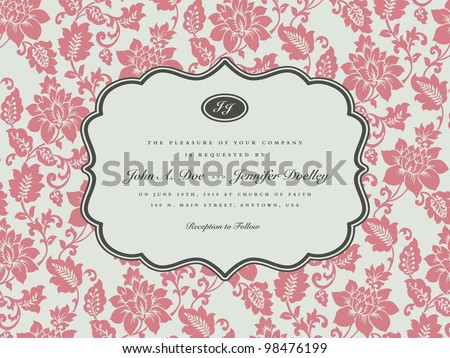 Vector Pastel Floral Frame. Easy to edit. Perfect for invitations or announcements. - stock vector