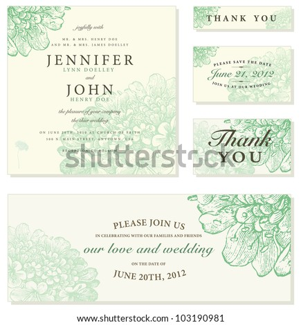Vector Pastel Floral Frame Set. Easy to edit. Perfect for invitations or announcements. - stock vector