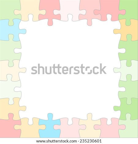 Vector pastel puzzle frame with place for text or image - stock vector