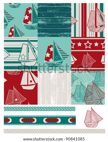 Vector patchwork Boat patterns.  Use to create quilt patches or backgrounds on various craft projects. Matching Pillows, Cushions and canvases are available from www.zazzle.com in the NuDesign shop.