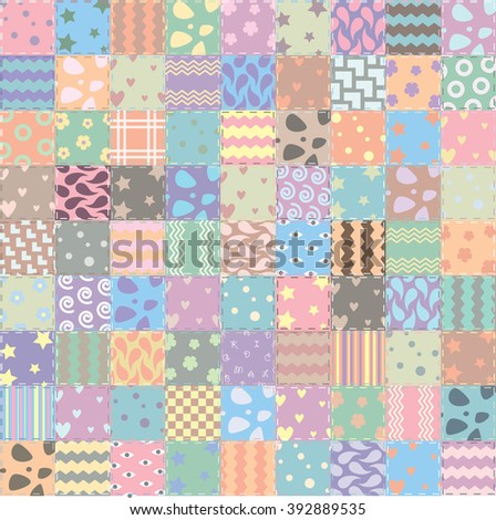 vector patchwork handicraft fabric background - stock vector