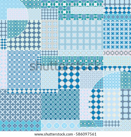 Vector Patchwork Quilt Pattern Vintage Decorative Stock