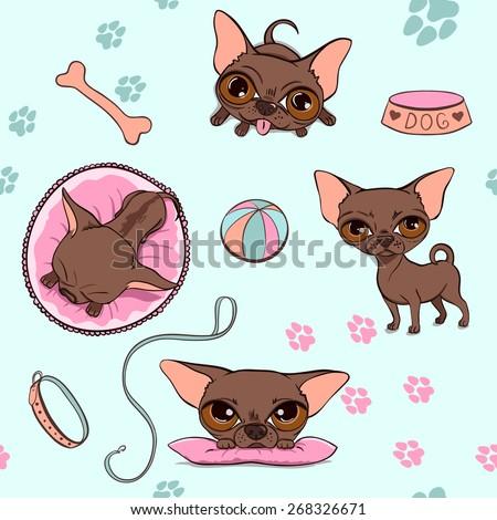 Vector Pattern Cartoon Cute Chocolate Dogs. Chihuahuas set - stock vector