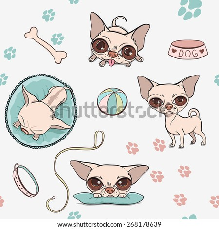 Vector Pattern Cartoon Cute Dogs. Chihuahuas set - stock vector
