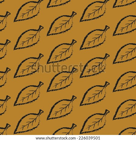 vector pattern color leaf tree simple doodle charcoal - stock vector