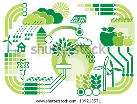 vector pattern diagram of environment and ecology - stock vector