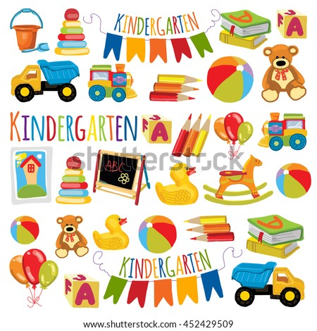 Vector pattern for kindergarten, kids party, toy store Play and study