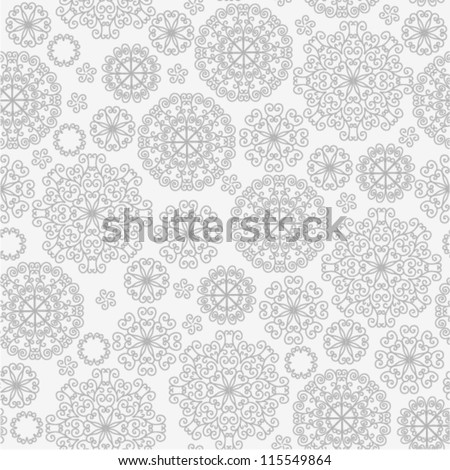 Vector pattern - gray lacy flowers
