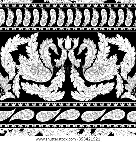Vector pattern inspired by paisley. Damask seamless pattern, texture hand drawn in black, white colors. Vintage print for fashion, textile, decor, wrapping, wallpaper. - stock vector