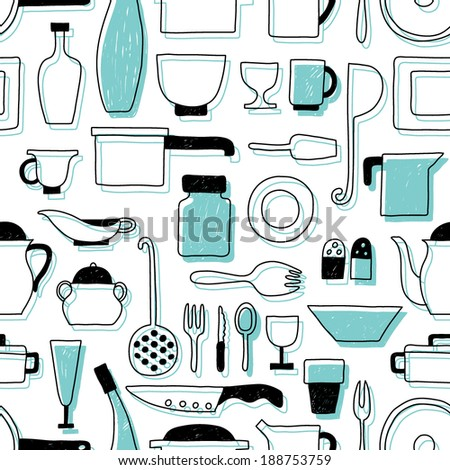 Vector pattern kitchen tableware - stock vector