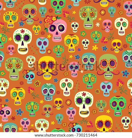 Vector Pattern Mexican Sugar Skulls On An Orange Background Wallpaper The Day Of Dead