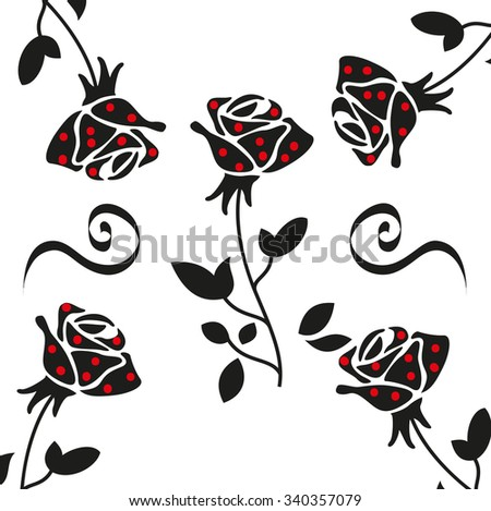 Vector  pattern. Modern repeating floral texture. Fancy print with stylized flowers. - stock vector
