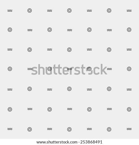 Vector pattern. Modern stylish texture. Marine pattern waves, dots - stock vector