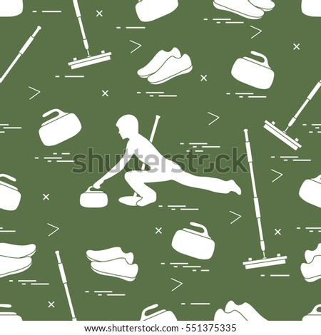 Vector pattern of different objects curling sport. Including: shoes, broom, stone and athlete silhouette.