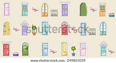Vector pattern of doors - stock vector