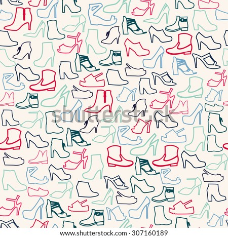 Vector Pattern of Fashion shoes outline. Background of fashion women's shoes  - stock vector
