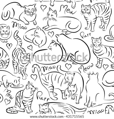 Vector pattern of stylized cat designs repeats seamlessly.