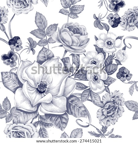 Vector pattern on white background. Seamless natural texture with blossom garden flowers peonies, roses, pansies, magnolia, carnations. Hand drawn. Black and white. Vintage. Victorian style. - stock vector