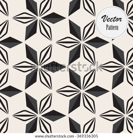 Vector pattern. Repeating geometric abstract flowers - stock vector