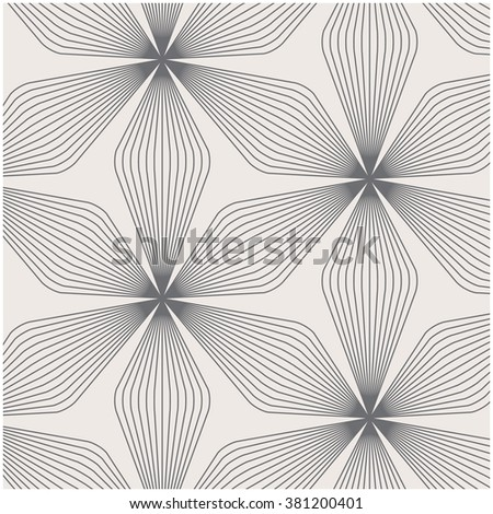 Vector pattern. Repeating geometric linear flowers, stylish monochrome  - stock vector