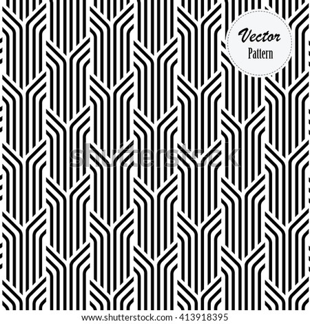 Vector pattern. Repeating geometric tiles with linear striped rhombuses - stock vector