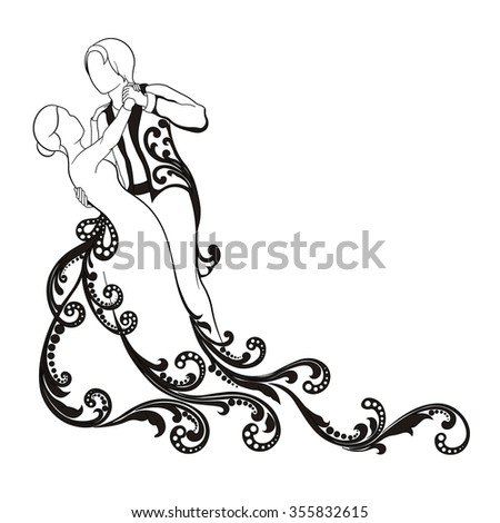 vector pattern scroll man and woman dancing a waltz - stock vector