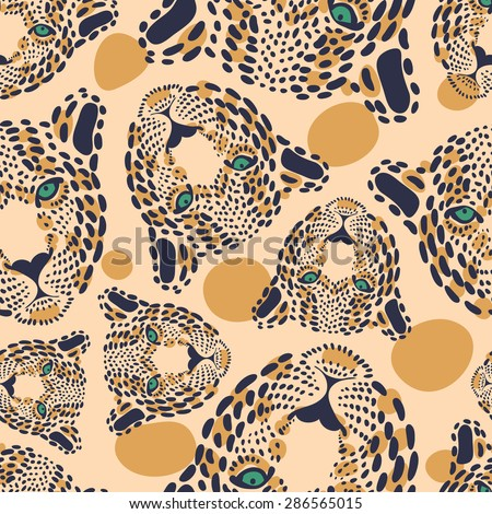 vector pattern, seamless Wallpaper with a picture of the muzzle of the leopard  - stock vector