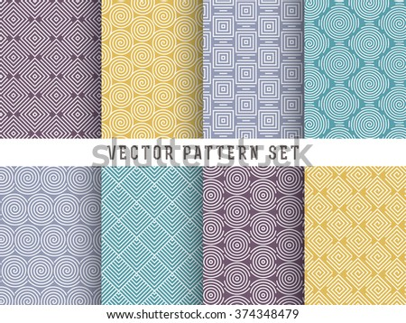 Vector Pattern Set - Collection of mono line geometric patterns on colorful backgrounds - stock vector