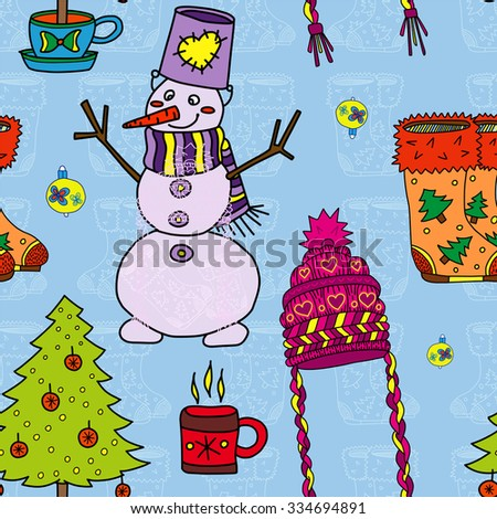 Vector pattern. Winter holiday design. sketch drawing. Ornament in style of childish doodles: Christmas tree, snowman, knitted cap, boots, Cup, bowl. Blue, orange, blue, purple, violet, green, red - stock vector