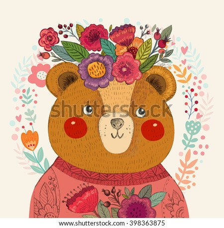 Vector pattern with  adorable bear, flowers and leaves. Lovely beautiful card with cute bear. - stock vector