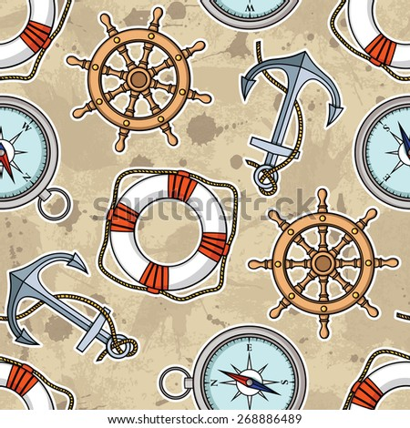 Vector pattern with anchors, lifebuoies, ship's wheels, compasses - stock vector