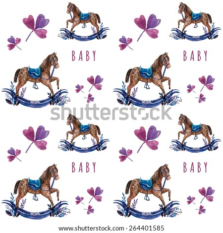 Vector pattern with baby illustration. Watercolor cute kids illustration. Children card with little wood horse. - stock vector