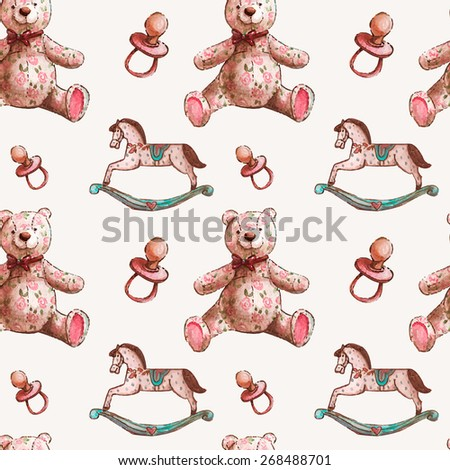 Vector pattern with baby illustration. Watercolor cute kids illustration. Children card with little textile teddy bears, wood horses and gigs.  - stock vector