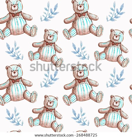 Vector pattern with baby illustration. Watercolor cute kids illustration. Children card with little textile teddy bears and blue leaves.  - stock vector
