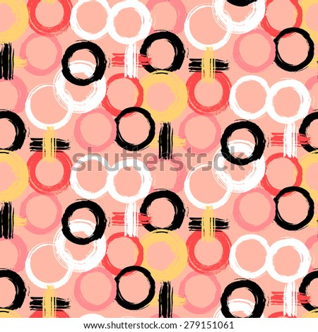 Vector pattern with big bold painted circles and crosses. Colorful hand drawn print for summer fall fashion with random round shapes in 1950s style. Multiple bright colors pink, red, black, white - stock vector