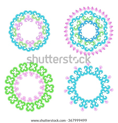 Vector pattern with bright floral ornament. Vintage design element in Eastern style. Ornamental lace tracery. Ornate floral decor for wallpaper.  - stock vector