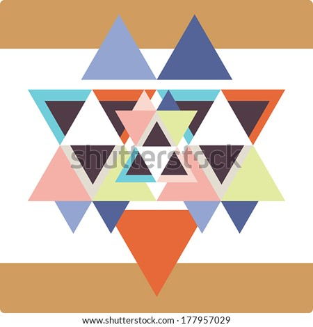 Vector pattern with colorful geometric shapes, triangles,lines.Colorful backdrop, seamless background pattern, retro style banner. - stock vector