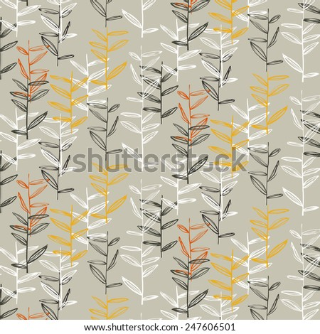 Vector pattern with floral elements. Organic ornament. Can be used as wallpaper (use seamless pattern under mask). - stock vector