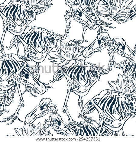 Vector pattern with flowers and skeleton birds - stock vector
