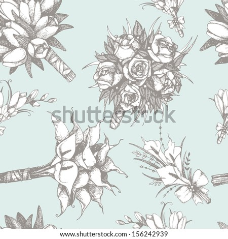 Vector pattern with hand drawn wedding bouquets and buttonholes with tulips and calla flowers isolated on white - stock vector
