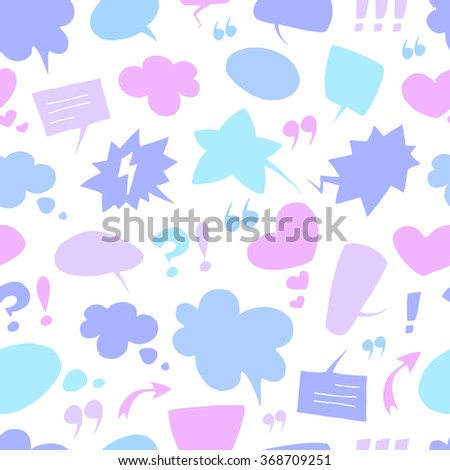 Vector pattern with many empty speech bubbles on white background. Seamless pattern can be used for wallpaper, pattern fills, web page background,surface textures. - stock vector