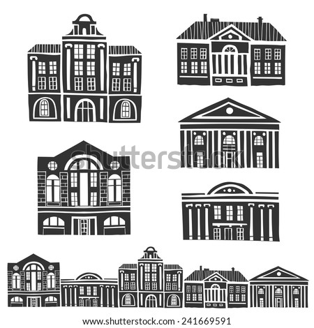 Vector pattern with old building icons in retro style - stock vector