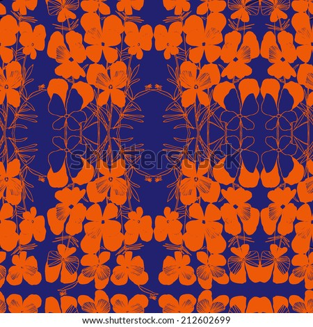 Vector pattern with orange hand drawn flower viola tricolor. Dark blue background. - stock vector