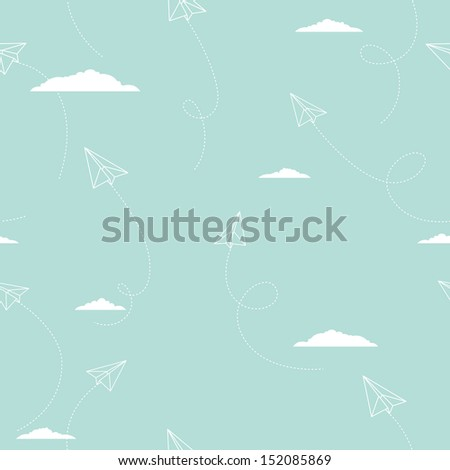 Vector pattern with paper airplanes - stock vector