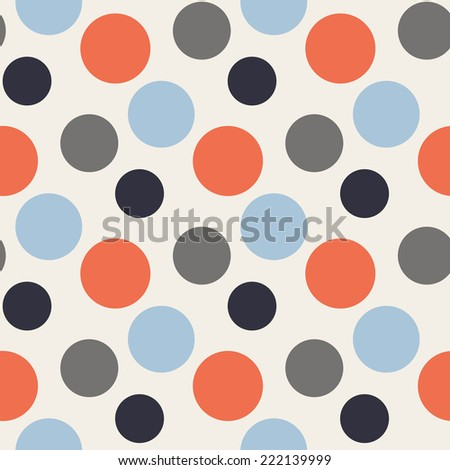 Vector Pattern with polka red,blue,grey dots - stock vector