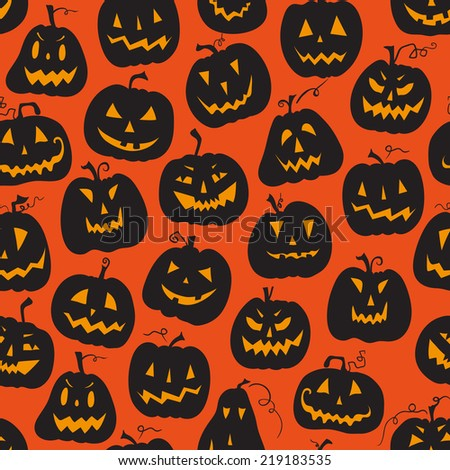 Vector pattern with pumpkins. Halloween holiday, seamless background. Vector illustration. Halloween holiday, seamless orange backdrop.