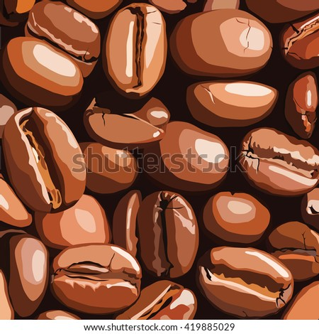 Vector pattern with realistic coffee beans