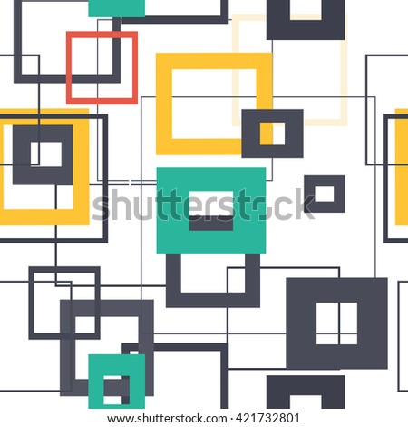 Vector pattern with repeating squares. Regular hipster background. Minimalistic ornament